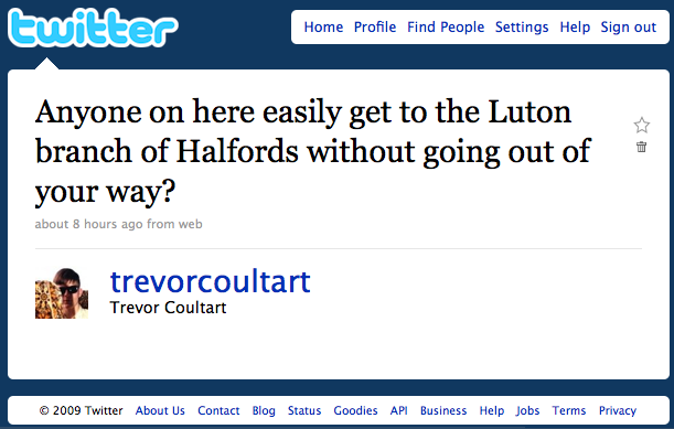 Anyone on here easily get to the Luton branch of Halfords without going to far out of your way?