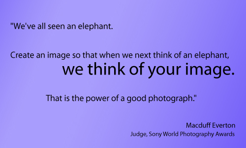 """We've all seen an elephant. Create an image so that when we next think of an elephant, we think of your image. That is the power of a good photograph.""  Macduff Everton, Judge, Sony World Photography Awards"